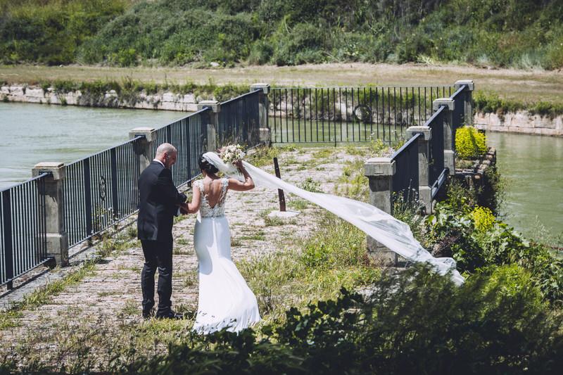viento y velo de novia
